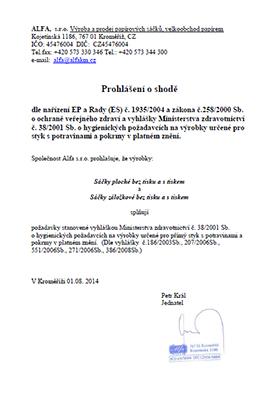 05b6766ff86 Certifikáty - Prohlášení o shodě